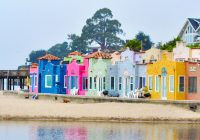 Santa Cruz Colored Houses With 10 X 3 5 Vibrant And Colorful Capitola Beach On Pacific Ocean