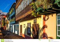 Santa Cruz Colored Houses With Colorful Balconies In City On La Palma Island Stock Image