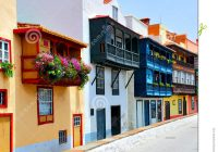 Santa Cruz Colored Houses With Colorful Balconies Stock Photo Image Of Islands