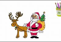 Santa Drawing Colored With How To Draw And Reindeer Learning Colors For Kids YouTube