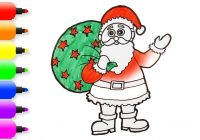 Santa Drawing Colored With How To Draw Color Claus For Kids
