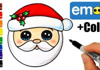 Santa Drawing Colored With How To Draw Head Emoji Super Easy YouTube