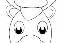 Santa Face Coloring Page Template With Christmas Reindeer Free Printable Pages