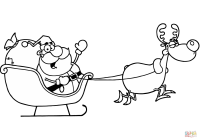 Santa Flying Coloring Pages With Claus Riding His Sleigh Page Free Printable