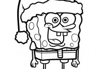 Santa Hat Coloring Pages Printable With Christmas Sponge Bob In Free