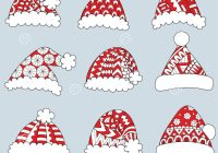 Santa Hat Coloring Picture With Set Of Red Hats On White Background For Design Element And