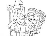 Santa List Coloring Sheet With Spongebob And His Christmas Wish Pages Hellokids Com