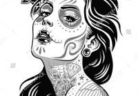 Santa Muerte Coloring Pages With Girl Skeleton Make Up Hand Drawn Vector Sketch