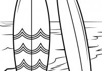 Santa On A Surfboard Coloring Page With Surfboards Beach Free Printable Pages
