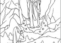 Santa S Grotto Colouring With Our Lady Of Lourdes Coloring Page Catholic Pages For Kids