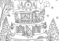 Santa S House Coloring Pages With Christmas Page Free Printable