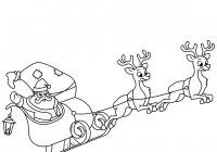 Santa Sled Coloring Page With Claus Riding His Sleigh Free Printable