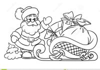 Santa Sled Coloring Page With Pages Claus And Christmas Gifts Stock Illustration