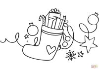 Santa Socks Coloring With Xmas Stocking Page Free Printable Pages