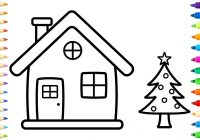 Santa Tree Coloring Page With House Pages How To Draw And Paint Christmas