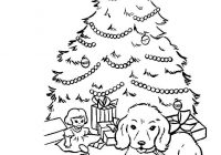 Santa Tree Coloring Page With Is Decorating Christmas Free Printable