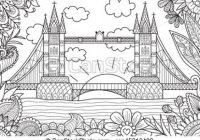 Spring in london for adult coloring book page