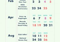 Total 2019 Calendar Year Working Days With 10 Long Weekends In The Philippines Cheatsheet