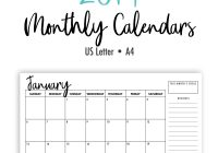 Total 2019 Calendar Year Working Days With Printable Monthly Calendars Landscape US Letter A4