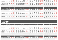 Two Year Calendar 2019 And 2020 With Blank Printable Word Excel PDF Holidays