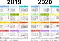 Two Year Calendar 2019 And 2020 With Calendars For UK PDF