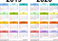 Two Year Calendar 2019 And 2020 With Free Printable PDF Calendars