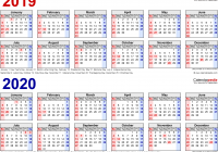 Two Year Calendar 2019 And 2020 With Free Printable Word Calendars