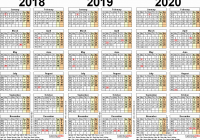 Two Year Calendar 2019 And 2020 With Holidays Free Printable