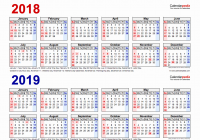 Two Year Calendar 2019 And 2020 With Yearly Free Printable Pdf