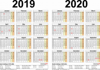 Two Year Calendar 2019 And 2020 With Yearly Printable A4 Calendars For