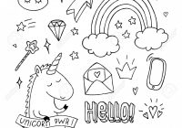 Unicorn Coloring Book Set. Doodle Rainbow Star Crown. Black And ..
