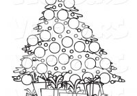 Vector of a Cartoon Christmas Tree and Gifts – Coloring Page Outline ..