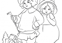 Victorian Christmas Coloring Pages Printable With Card Page Free