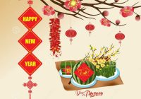 Vietnamese New Year 2019 Calendar With Chinese Background Blooming Sakura Branches
