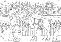 Vintage Christmas Coloring Pages With Santa Claus His Deer