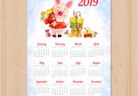 Watercolor chinese new year 16 calendar Vector | Free Download – Chinese New Year 2019 Calendar