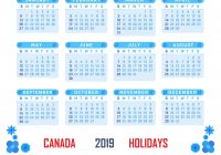 Year 2019 Calendar Canada With Holidays Templates Printable Bank Public