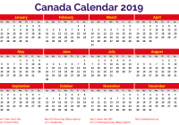 Year 2019 Calendar Canada With Printable PDF Excel Word Templates August