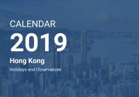 Year 2019 Calendar Hong Kong With