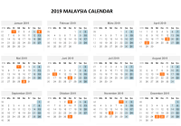 Year 2019 Calendar Malaysia With Template PDF Excel Word Download