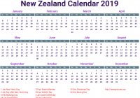 Year 2019 Calendar Nz With Free Template School Holidays UK USA QLD NZ
