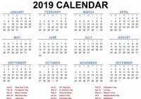 Year 2019 Calendar Printable With Blank Templates Calenndar Com