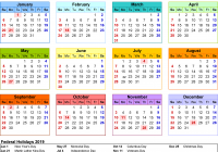 Year 2019 Calendar Printable With PDF 17 Free Templates
