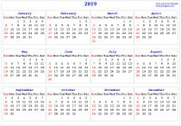Year 2019 Calendar United Kingdom With Printable In Multiple Colors