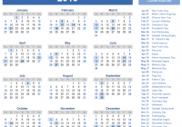 Year 2019 Calendar With Holidays Printable Templates Online