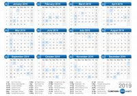 Year 2019 Holidays Calendar With