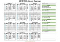 Year 2019 Holidays Calendar With US