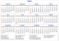 Year 2019 Holidays Calendar With Yearly Printable Templates Download