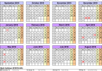 Year Calendar 2018 To 2019 With Academic Calendars As Free Printable Word Templates