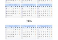 Year Calendar 2018 To 2019 With Free Printable And Templates